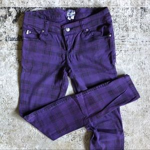 Violet Plaid Skinny Jeans
